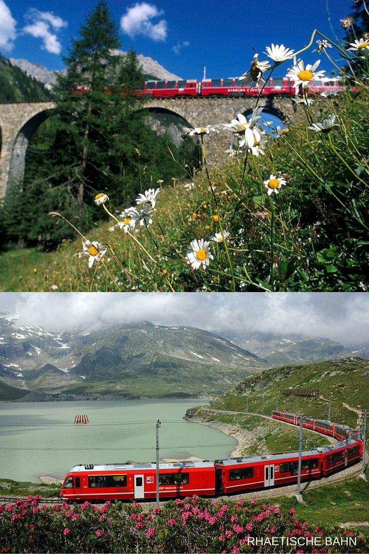 O Bernina Express tem vagões panorâmicos, ideal para admirar a incrível paisagem. As estações principais nesta rota são: Chur, Davos, St. Moritz, Bernina Pass, Poschiavo e Tirano (Itália). O trem funciona durante todo o ano, e no verão um ônibus opcional conecta Tirano (Itália) a Lugano.