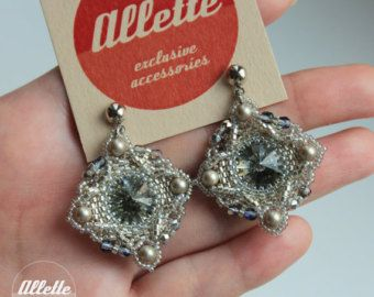 Swarovski bead woven earrings Beaujolais by AlletteAccessories