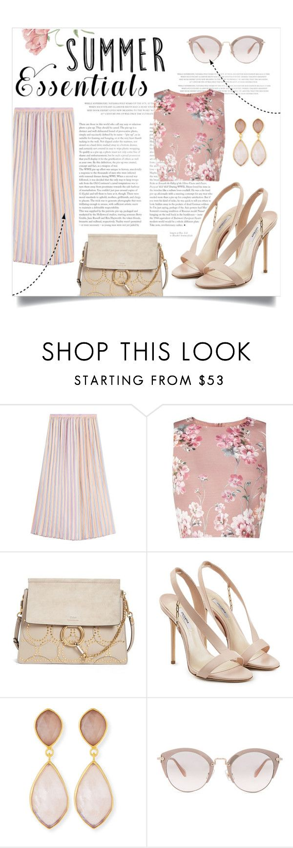 """SUMMER ESSENTIALS"" by lklmntna ❤ liked on Polyvore featuring Marco de Vincenzo, Miss Selfridge, Chloé, Olgana, Dina Mackney and Miu Miu"