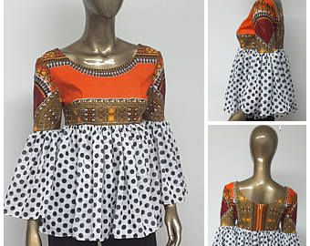 Collection CHYFWAX. Africain imprimé Mini robe. Manches en