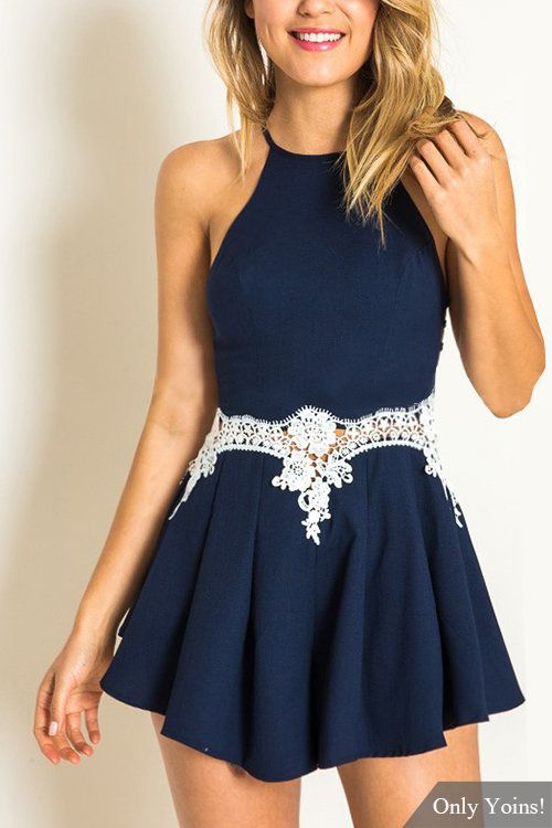 Navy Cami Playsuit with Lace Details -YOINS                                                                                                                                                                                 More