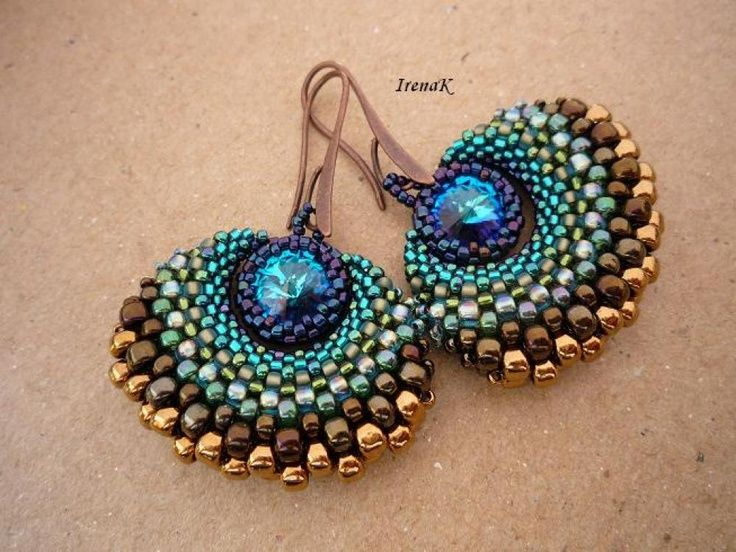 Woven seed bead earring with Rivoli Bezel - nicely shaped curve, look similar to peacock feather. - - Irena K