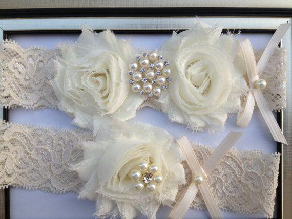 SALE - Ivory Wedding Garter -  Bridal Garter Set - Ivory Stretch Lace Ivory Chiffon Flowers - Pearl Rhinestone embellishment...