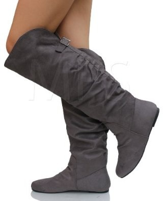 charcoal grey slouchy faux suede cuff knee