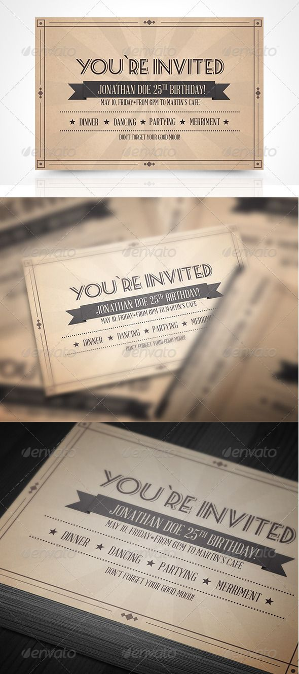 business event invitation templates%0A Vinatge Invitation Postcard