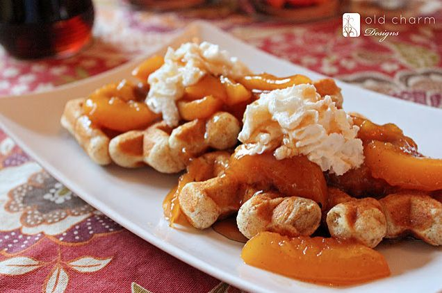 peach waffles - with a go-to waffle recipe: Health Food, Folk Check In, Inspiration By Charms, Recipes Breakfastfood, Skillets Peaches, Whole Wheat Waffles, Thoughts Guest, Waffles Recipes, Recipes Ifoodbreakfastorbrunch