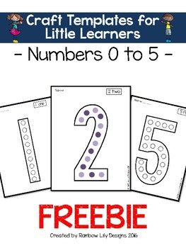 0-5 numeral templates for craft activities #numbers #kindy #art #education #free