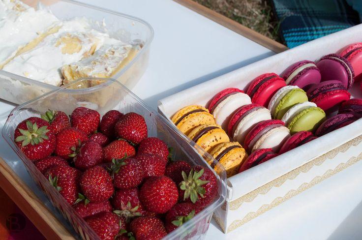Strawberries + macarons!