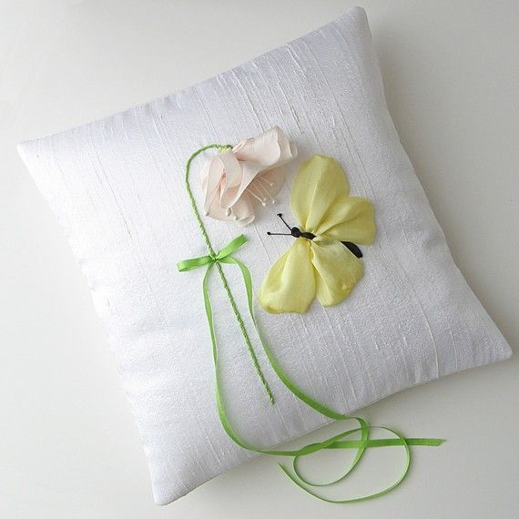 RIBBON HAND EMBRIODERED PILLOWS | Butterfly Ring Pillow silk ribbon embroidery by bstudio on Etsy