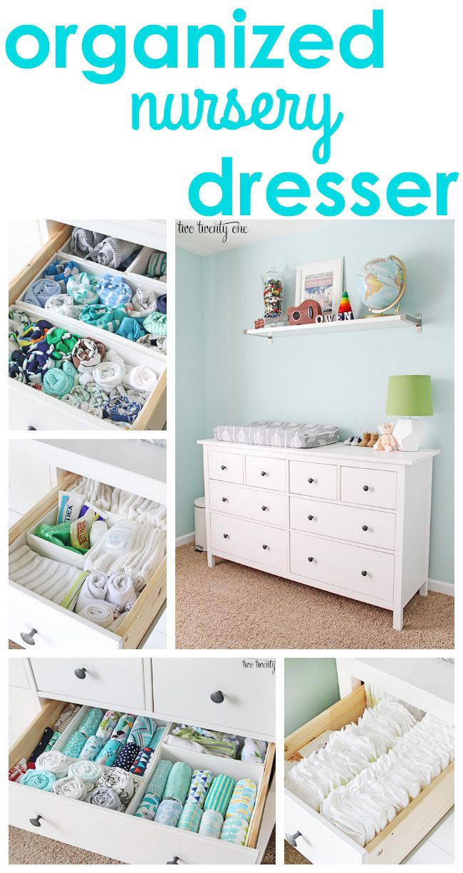 Dresser organization tips and tricks! GREAT tips and tricks for an organized dresser, especially a nursery dresser! A popular pin for baby and new parents! http://twotwentyone.net/nursery-dresser-organization/
