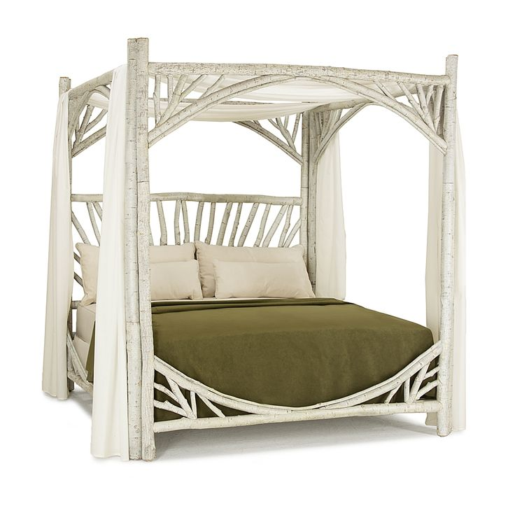 Rustic Canopy Bed King #4282 (shown in Whitewash Finish) La Lune Collection