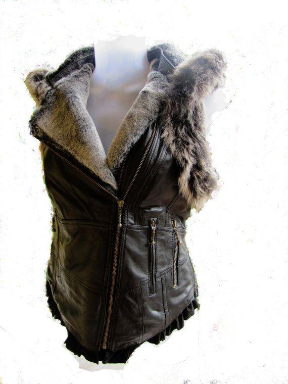 ON SALE!!Black leather biker vest leather tribal biker jacket sheepskin black waistcoat with faux fur