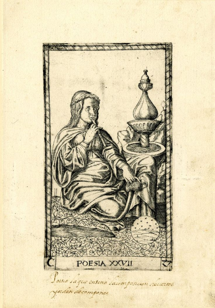 WL female figure seated to r, playing a flute and holding a vessel; on r a fountain and a celestial globe, the ground filled with leaves; after the so-called Tarocchi Cards of Mantegna.  Engraving
