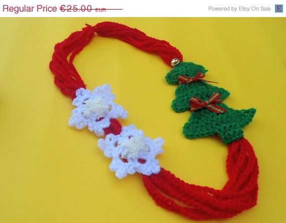 For today only Christmas Necklace  Crochet Christmas by CRAZYBOOM