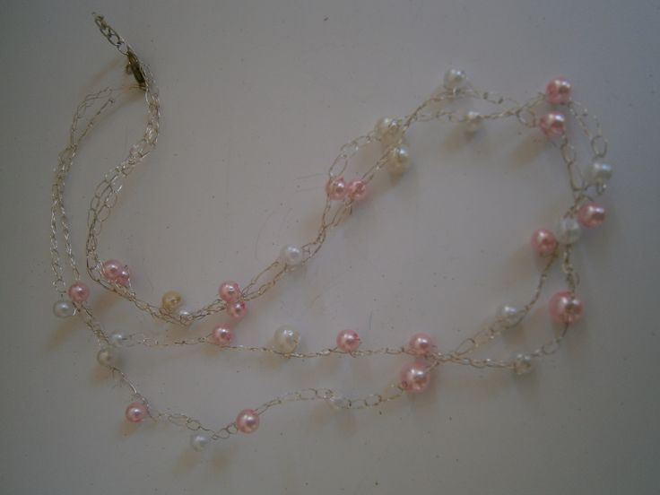 Sophiecadesigns #wire #crochet #pearls #baby pink #snow white