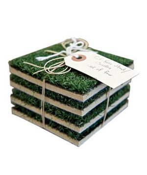 Unique Groomsmen Gifts: Turf Coaster Set  He plays 18 holes of golf on Saturday mornings, and now his Arnold Palmer can relax on a manicured swath of grass, too.  To buy: $13 for four, bergino.com.