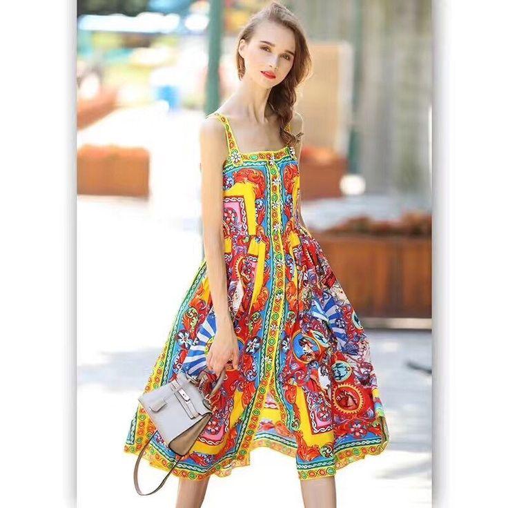 36.45$  Watch here - Fashion Spaghetti Strap print dress 2017 high quality designer Square Collar sexy Beach Casual Appliques dress   #buyonline