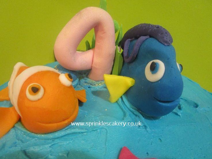 Nemo and Dory characters made from fondant to finish off a cake for a 4 year old birthday girl.