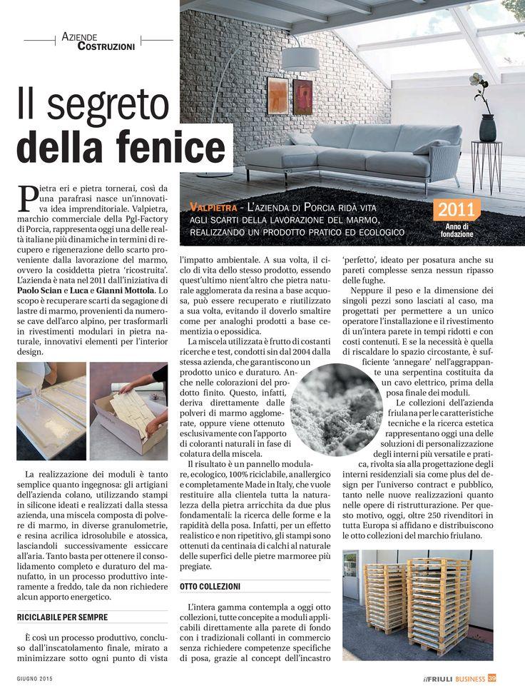 BUSINESS - IL FRIULI giugno 2015 #Valpietra è sinonimo di rivestimento modulare…