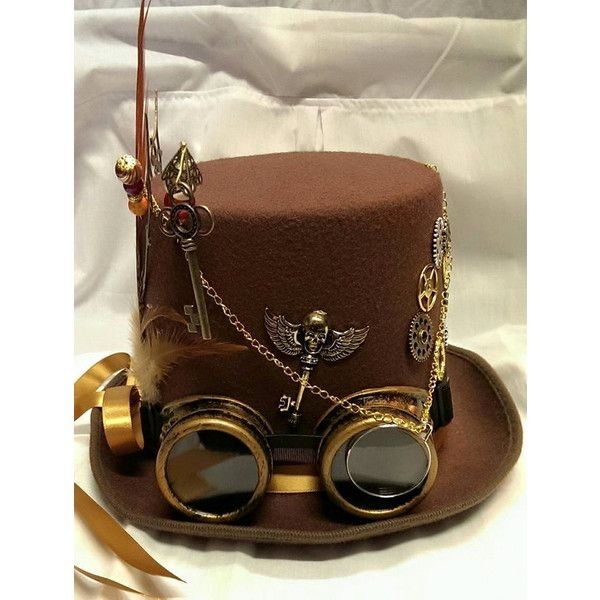 Steampunk Festival Bespoke Victorian Goth Brown Wool/Felt Top Hat... ($89) ❤ liked on Polyvore featuring accessories