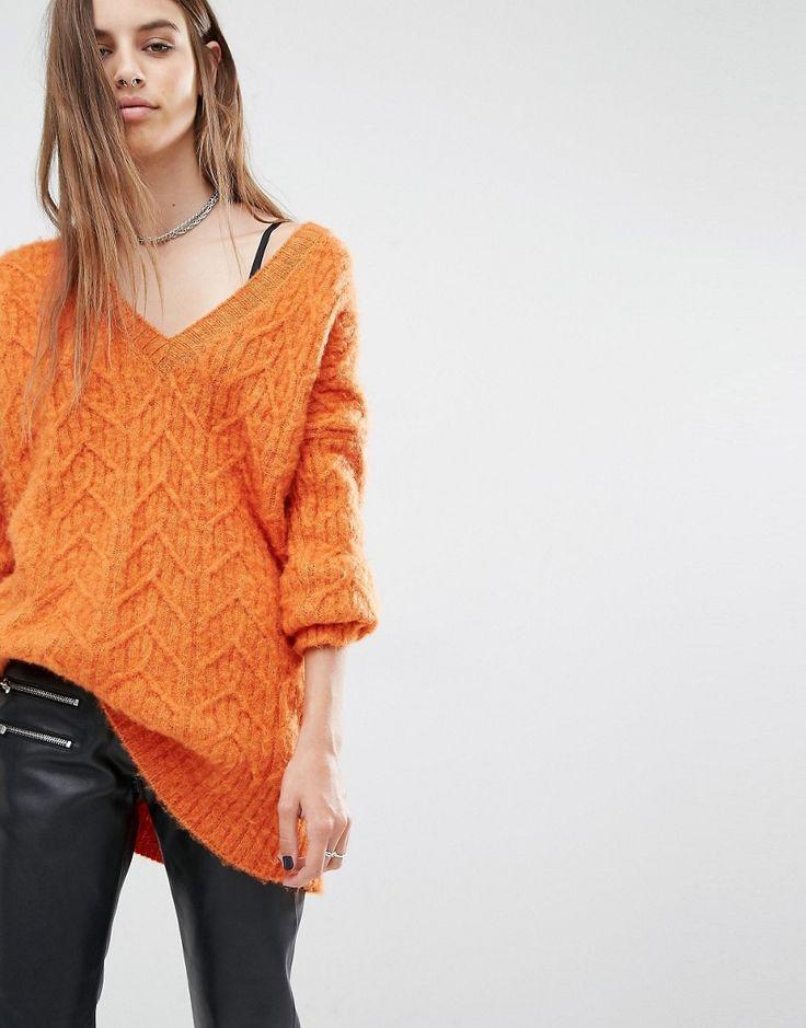 Image 1 ofReligion Luxury Oversized V-Neck Jumper In Fluffy Knit