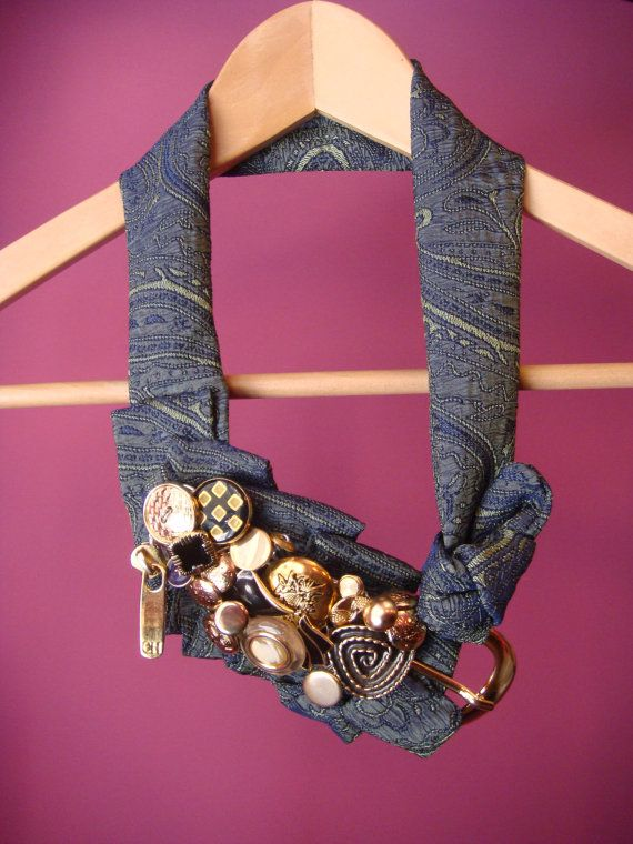 Upcycled Necklace Belt Blue Green Gold embossed fabric vintage metal buttons metalware, Repurposed jewelry