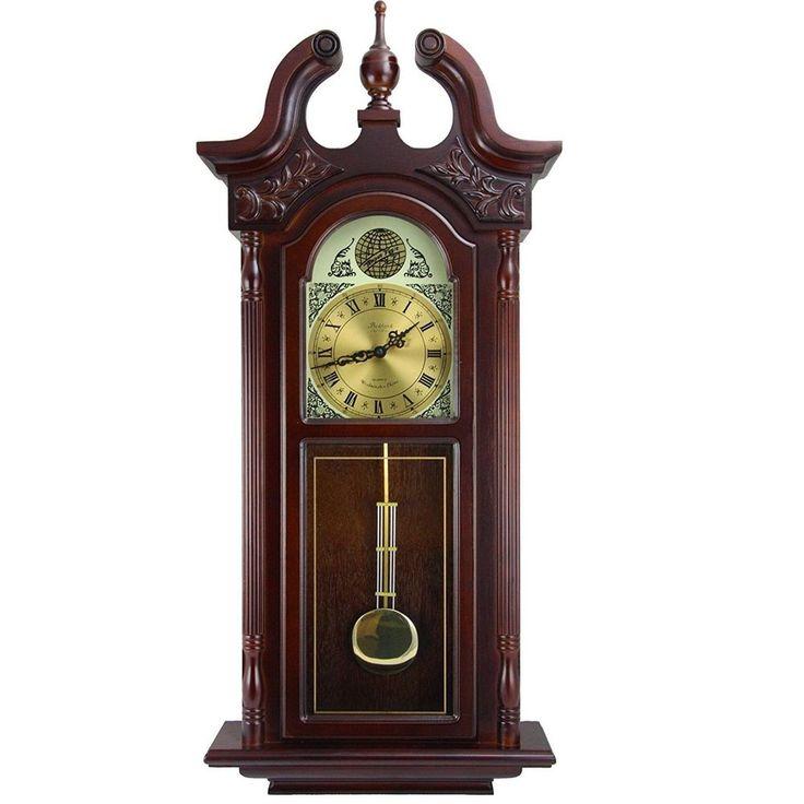 Bedford 38 grand colonial cherry oak grandfather wall clock + pendulum &  chime