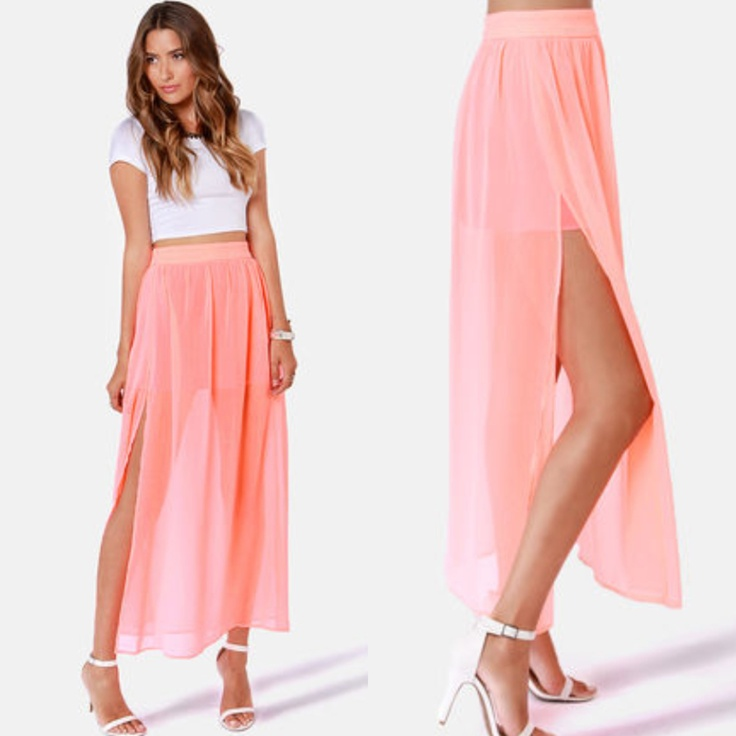 NEW coral maxi skirt in store at Tria! $39.99, perfect to dress up or down! Shop in store or call 407.732.6971 to order!