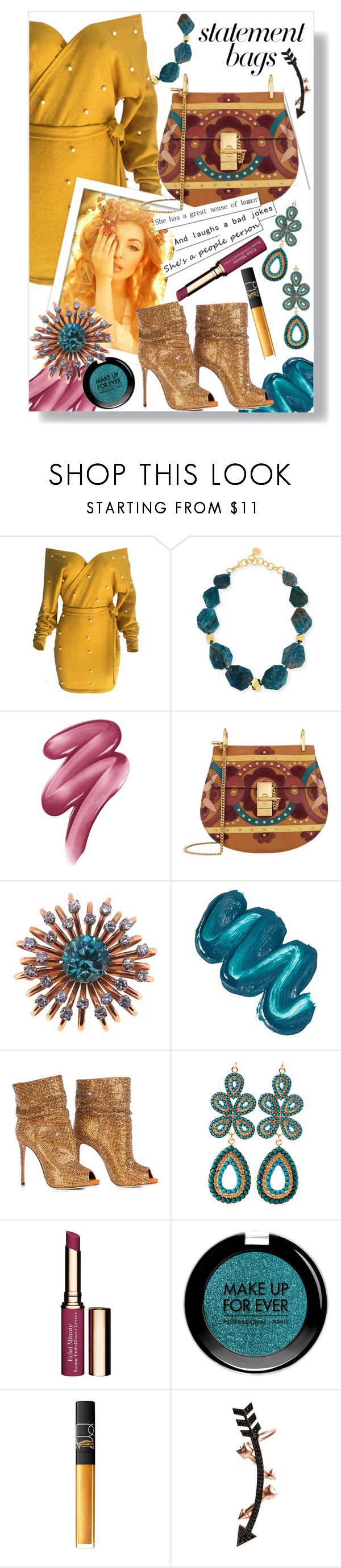 """Statement Bags"" by daklovesfashion ❤ liked on Polyvore featuring WithChic, Nest, Clinique, Chloé, Natural Blue, Mermaid Salon, Clarins, MAKE UP FOR EVER, NARS Cosmetics and Wild Hearts"