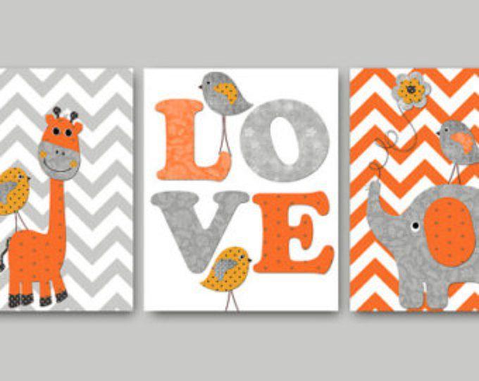 Bird Elephant Nursery Giraffe Nursery Baby Nursery Decor Baby Boy Nursery Art Kids Wall Art Kids Art Nursery Print set of 3 Gray Orange