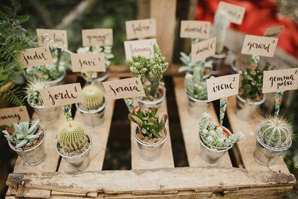 ANA + GUILLEM // #favours #placecards #cactus #succulent #plant #pot #tag #name…