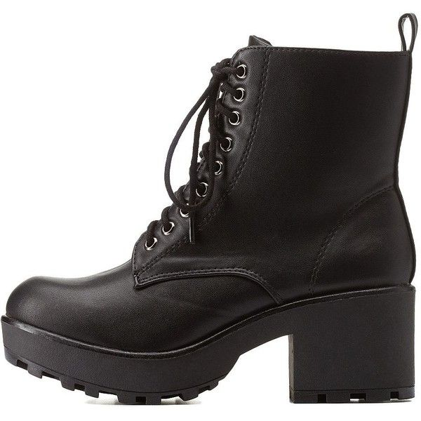 Charlotte Russe Black Lug Sole Chunky Heel Combat Booties by Charlotte... found on Polyvore featuring shoes, boots, ankle booties, black, black boots, chunky heel booties, black bootie, black booties and chunky platform boots