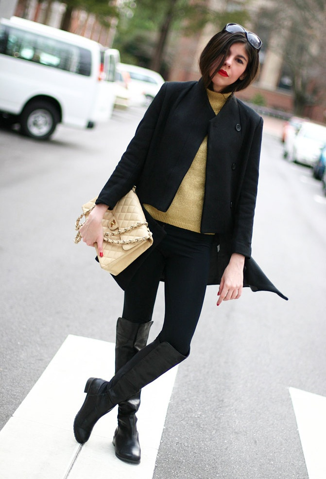 Riding Boots + CHANEL   #fashion #style #outfit  #look , Chanel in Bags, Wanted Shoes in Boots, Oscar De La Renta in Turtlenecks