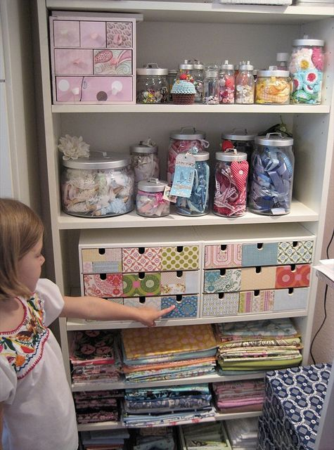 craft storage-I like the idea of getting a tall bookshelf & using each one to store & organize a group of something.