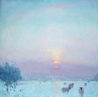 British Artist Stephen BROWN RBA - Sunset, Winter Haze