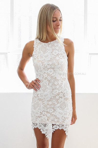 brandi lace dress - Esther.com.au Wedding rehearsal dress, white lace dress, bodycon white dress