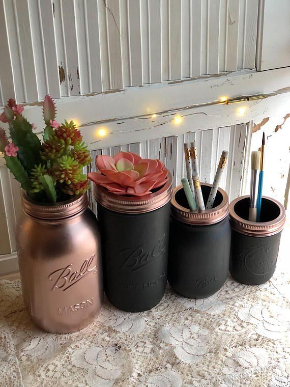 Rose Gold And Black Mason Jar Set Home Decor Organizers Paper