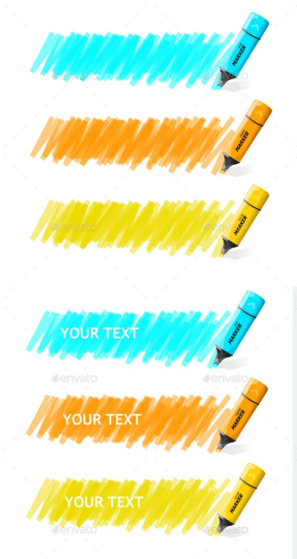 Markers Text Box Vector Bullet Journal Banner Markers Vector
