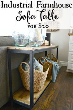 DIY Farmhouse Industrial sofa table. Turn a metal shelf into rustic shelving for $20. Find out more at http://theweatheredfox.com
