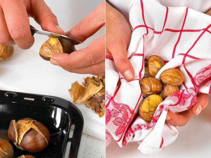 Bevor die Schalenfrüchte verarbeitet werden können, muss der köstliche Kern freigelegt werden. Wir erklären Schritt für Schritt, wie Sie Maronen schälen.