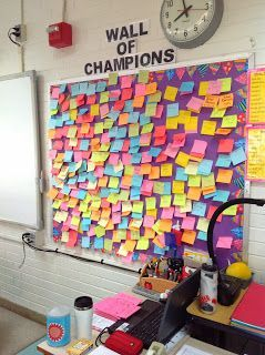 """""""Wall of champions"""" post its to demonstrate 80% or higher on assessments"""