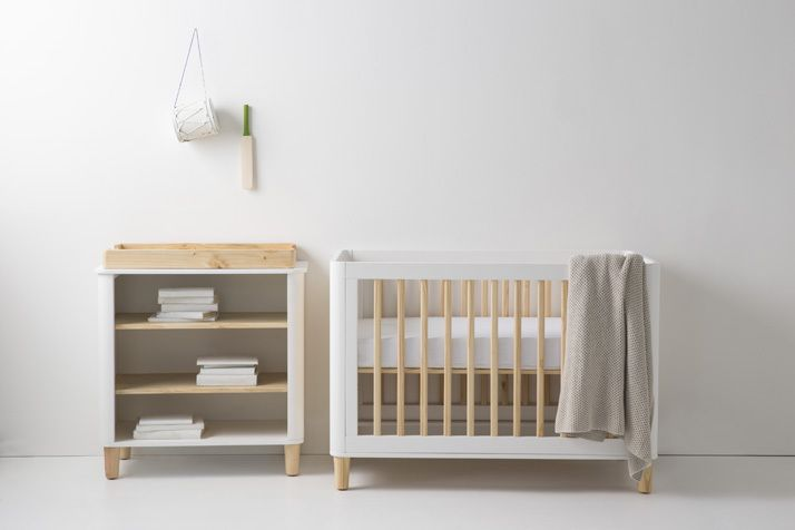 Teeny cots , made from New Zealand Pine favors neutral tones of mid-century modern style and celebrates classic Scandinavian design and functionality.