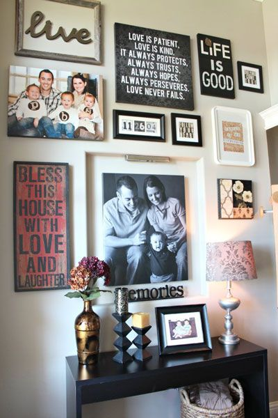 A gallery wall filled with artwork  framed family portraits and touches of inspiration provide guests Best 25 Portrait ideas on Pinterest Family photos