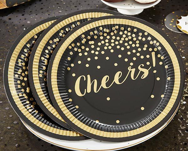 Black Gold Foil Paper Plates Wedding Birthday Party New Years Eve Q37200 | eBay