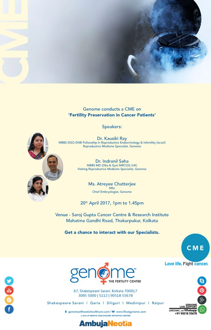 """Get a chance to interact with our Specialists! Join our CME on """"Fertility Preservation in Cancer Patients"""" with our Reproductive Medicine specialists and chief embryologist on 20th April 2017 from 1 pm to 1.45 pm at Saroj Gupta Cancer Centre & Research Institute in Kolkata."""