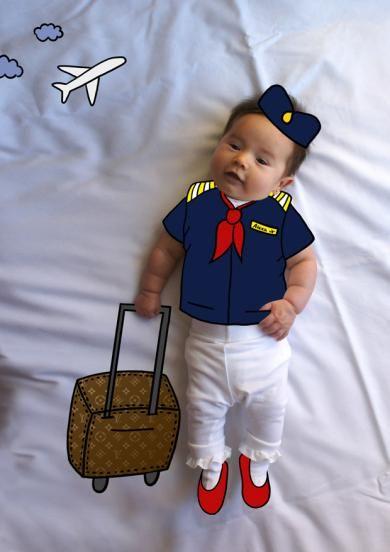 Alexa de Mayor Quiere ser Azafata. Fotografia & Ilustración Creativa de bebés y niños soñadores. bebé baby