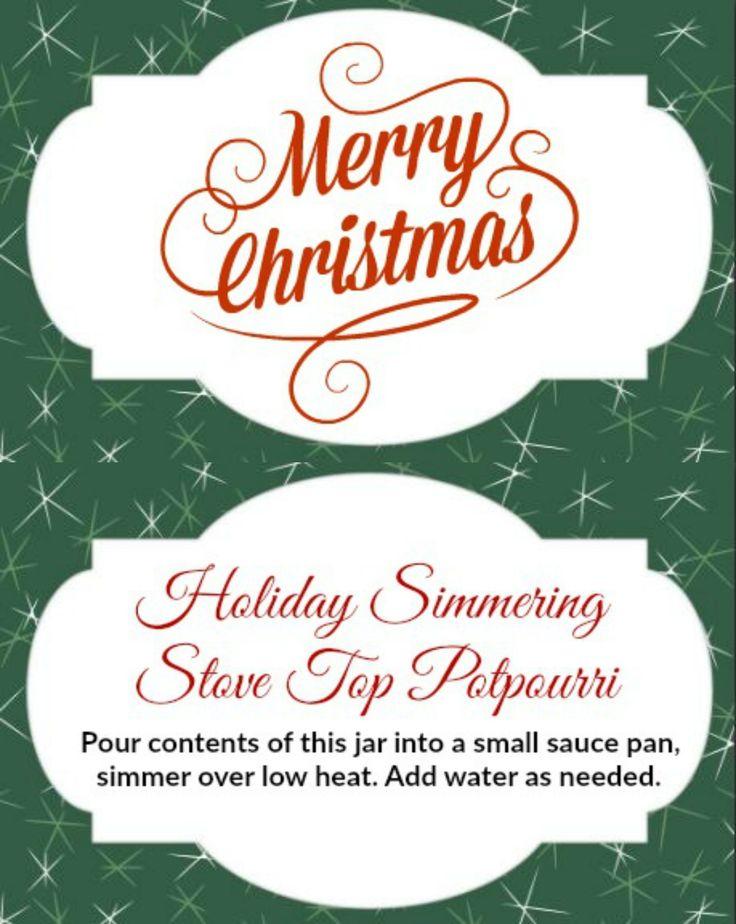 Free printable Merry Christmas Holiday Tag for DIY Cranberry Orange Stove Top Potpourri mason jar gift