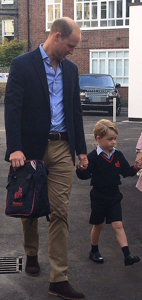 William looked very proud as he took his son to school for the first time today