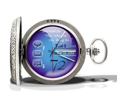 digital pocket watch. Cool Future tech. Combination of old style & new tech