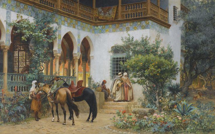 """A North African Courtyard"".  (1879). (by Frederick Arthur Bridgman)."